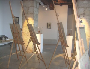 Image of set up for an Art for Development program at the Galerie Sardac.