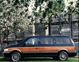 The Chrysler Minivan, 1991. The author's first car and an iconic symbol of the American suburbs.