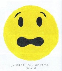"""Universal Pain Indicator (level 6)"", acrylic and gouache on magazine paper, image courtesy of the artist Catherine Haley Epstein"