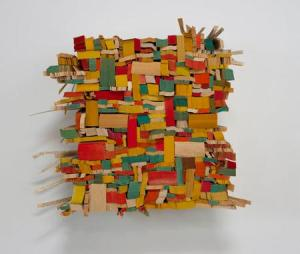 Ann Hamilton, All hold their hands, 2013, paperback book slices, wood and bookbinder's glue    12 x 12 x 4 in. Courtesy the artist and Elizabeth Leach Gallery.