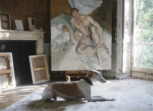 unfinished 'Portrait of the Hound,' 2011. courtesy of Lucien Freud / National Portrait Archive.
