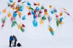 Olaf Breuning, public action painting on snow in Gstaad.