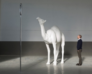 Image courtesy Beyer Projects and the artist John Baldessari, Camel (Albino) Contemplating Needle (Large), 2013. Fiberglass, aluminum, stainless steel, acrylic and paint