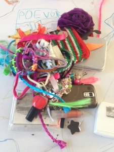 The author's 7-year old daughter's purse contents, image courtesy Catherine Haley Epstein