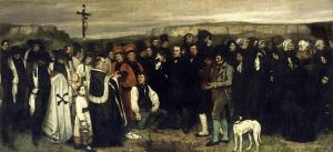 "Gustave Courbet, A Burial at Ornans, 1849-1850, oil on canvas, (123.6 x 261 inches - ~ 10.5 x 22 feet), Musee d'Orsay, Paris.  Exhibition at the 1850–1851 Paris Salon created an ""explosive reaction"" and brought Courbet instant fame."