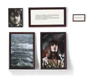 Sophie Calle, The Blind #2, color coupler print, gelatin silver print, printed paper and wooden shelf