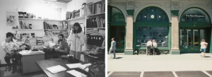 Left: New Museum staff members: John Jacobs, Ned Rifkin, and Marcia Tucker, ca. 1980. Right: The New Museum building at 583 Broadway ca. 1985. Exhibition space included a street-level window Image courtesy New Museum